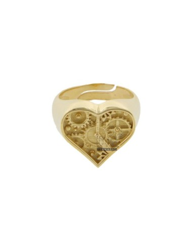 CHEVALIER RING HEART CLOCK IN GOLDEN SILVER TIT 925 ADJUSTABLE MEASURE BY PINK