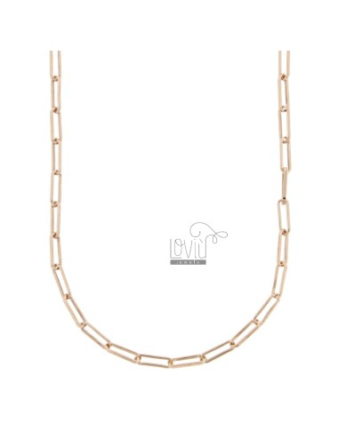 NECKLACE CABLE EXTENDED MM 3X10 IN ROSE SILVER TIT 925 CM 80