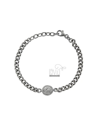 GROUMETTE BRACELET WITH SMALL CENTRAL SILVER BRUNITO TIT 925 CM 17-19