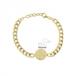 GROUMETTE BRACELET WITH CENTRAL GOLDEN SILVER COIN TIT 925 CM 17-19