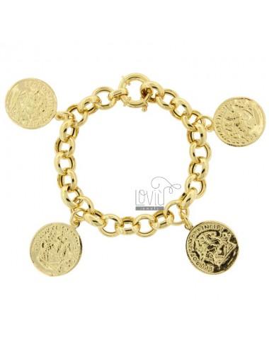 ROLO BRACELET WITH 4 GOLDEN SILVER PENDING COINS TIT 925 CM 17-20