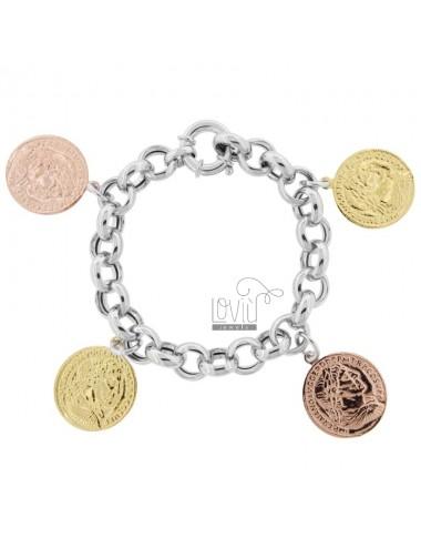 ROLO BRACELET 'WITH 4 TRICOLOR SILVER PENDING COINS TIT 925 CM 17-20