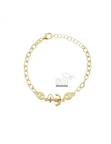 CABLE BRACELET WITH SEA SHIRTS AND STILL IN GOLDEN SILVER TIT 925 CM 17-20