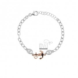 CABLE BRACELET WITH SEA SHIRTS AND STILL IN RHODIUM-PLATED SILVER AND ROSE TIT 925 CM 17-20