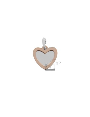 DOUBLE SHEET HEART PENDANT 16X13 MM SILVER RHODIUM AND COPPER TIT 925 ‰