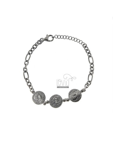 CHAIN BRACELET WITH 3 CENTRAL COINS IN BRUNITO SILVER TIT 925 CM 17-20