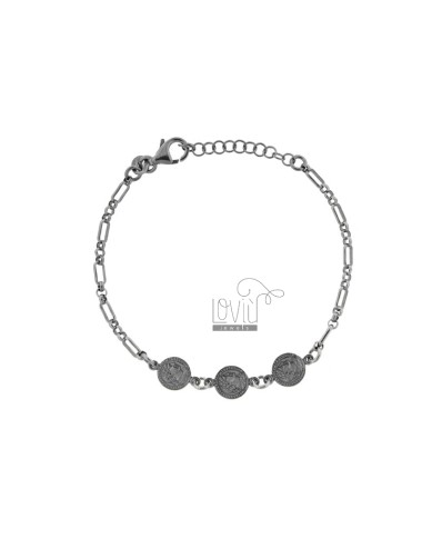CHAIN BRACELET WITH 3 SMALL CENTRAL COINS IN BRUNITO SILVER TIT 925 CM 17-20