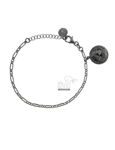 BRACCIALE A CATENA CON MONETA MM 16 PENDENTE IN ARG. BRUNITO TIT 925 CM 17-20