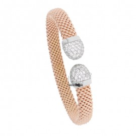 CONTRARY RIGID BRACELET FOPE SWEATER IN ROSE SILVER AND RHODIUM TIT 925 WITH ZIRCONIA