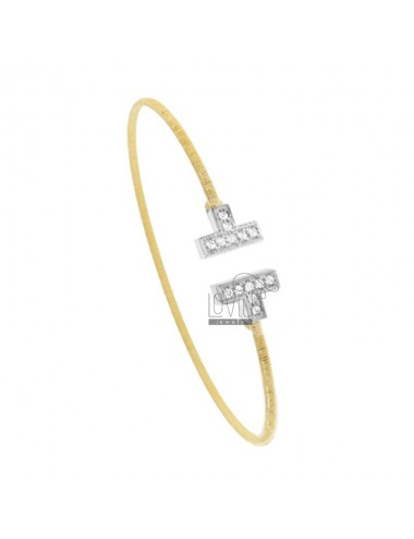 RIGID BRACELET WITH DIAMOND WIRE IN GOLDEN AND RHODIUM SILVER TIT 925 AND ZIRCONIA