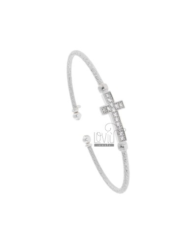 RIGID BRACELET WITH DIAMOND WIRE IN SILVER RHODIUM TIT 925 WITH ZIRCONATED CROSS