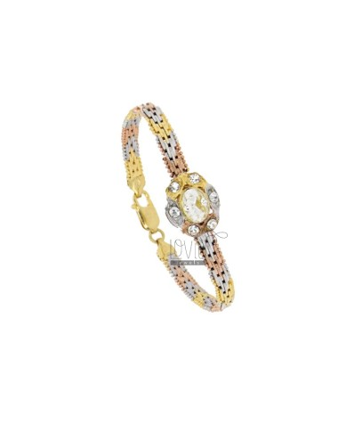 VINTAGE BRACELET PERSIAN MESH SILVER PLATED RHODIUM GOLD AND ROSE GOLD TIT 925 ‰ AND STRASS 18 CM