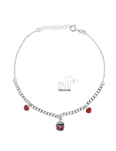 ANKLE GROUMETTE WITH LADYBIRD AND HEARTS IN SILVER RHODIUM TIT 925 SM ENAMEL 22 CM EXTENDABLE TO 25