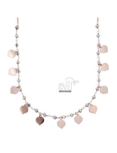 NECKLACE STRING WITH STONES HEARTS IN ROSE SILVER TIT 925 ‰ CM 35-38