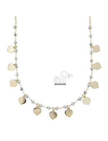NECKLACE STRING WITH STONES HEARTS IN GOLDEN SILVER TIT 925 ‰ CM 35-38