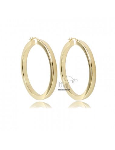 HOOP EARRINGS DIAMETER 40 SQUARE BARREL 4.5X4.5 MM SILVER GOLDEN TIT 925