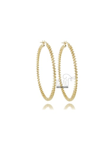 INTERNAL CIRCLE EARRINGS 40 MM ROUND ROD 2 MM WITH TWISTED WIRE DIAMOND SILVER TIT 925