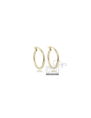 CIRCLE EARRINGS 15 MM WITH ROUND DIAMOND BARREL 2 MM GOLDEN SILVER TIT 925