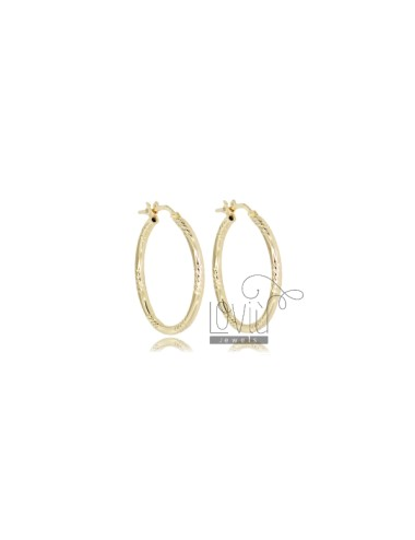 CIRCLE EARRINGS 20 MM WITH ROUND DIAMOND BARREL 2 MM GOLDEN SILVER TIT 925