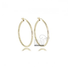 CIRCLE EARRINGS 30 MM WITH ROUND DIAMOND BARREL 2 MM SILVER GOLDEN TIT 925