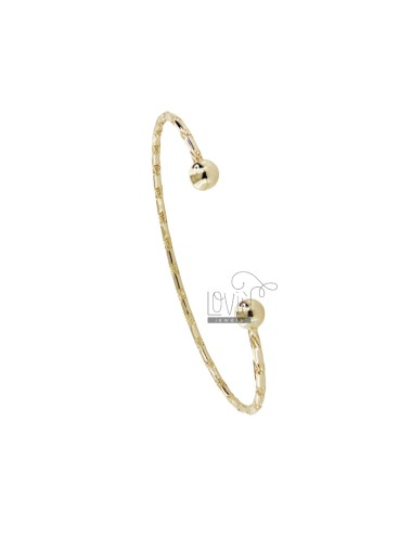 BRACCIALE RIGIDO A CANNA TONDA DIAMANTATA MM 2 IN ARG. DORATO TIT 925‰