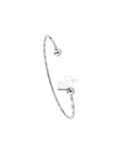 BRACCIALE RIGIDO A CANNA TONDA DIAMANTATA MM 2 IN ARG. RODIATO TIT 925‰