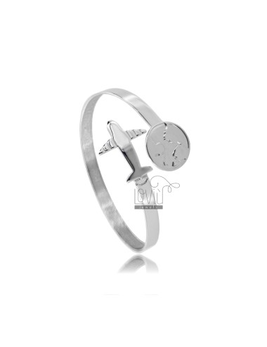RIGID BRACELET CONTRARY TO CRUSHED BARREL MM 5 WITH WORLD AND PLANE IN SILVER RHODIUM TIT 925 ‰