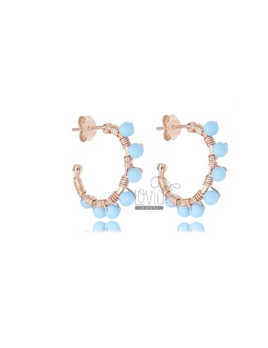 CIRCLE EARRINGS MM 15 IN ROSE SILVER AND TURQUOISE PASTA TIT 925