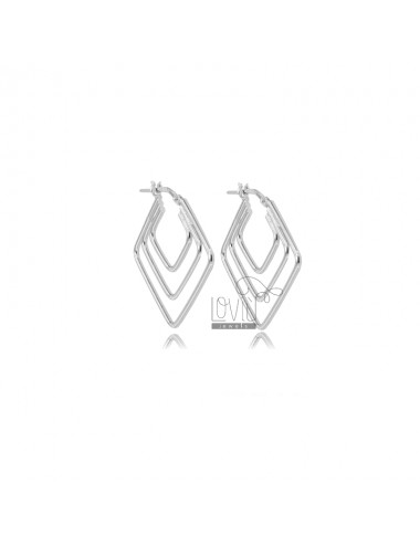 EARRINGS WITH RHOMBUS 3 WIRES 29X29 MM SILVER RHODIUM TIT 925