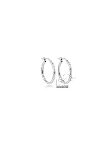 CIRCLE EARRINGS 15 MM WITH ROUND DIAMOND BARREL 2 MM SILVER RHODIUM TIT 925