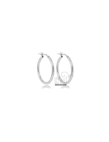 CIRCLE EARRINGS 20 MM WITH ROUND DIAMOND BARREL 2 MM SILVER RHODIUM TIT 925