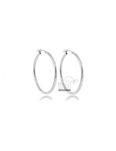 CIRCLE EARRINGS 30 MM WITH ROUND DIAMOND BARREL 2 MM SILVER RHODIUM TIT 925