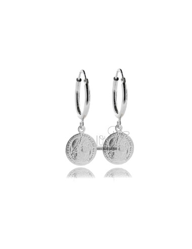 CIRCLE EARRINGS 12 MM WITH ROUND BARREL MM 2 AND PENDANT COIN 12 MM IN SILVER RHODIUM TIT 925