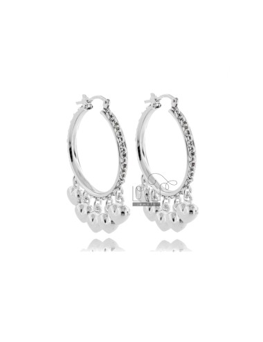 CIRCLE EARRINGS 20 MM WITH HEARTS IN SILVER RHODIUM TIT 925
