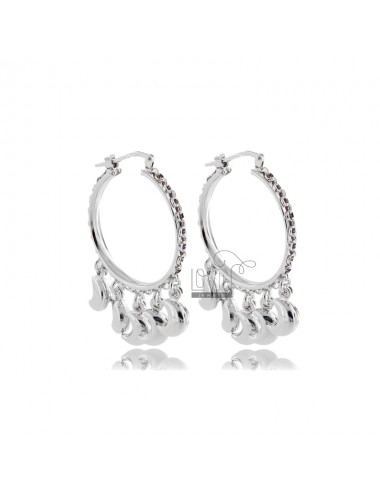 CIRCLE EARRINGS MM 20 WITH MOON PENDANTS IN SILVER RHODIUM TIT 925