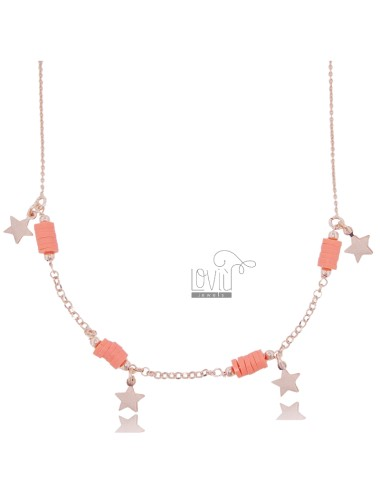 NECKLACE ROLO 'WITH PENDING STARS AND SILICONE IN ROSE SILVER TIT 925 ‰ 42 CM