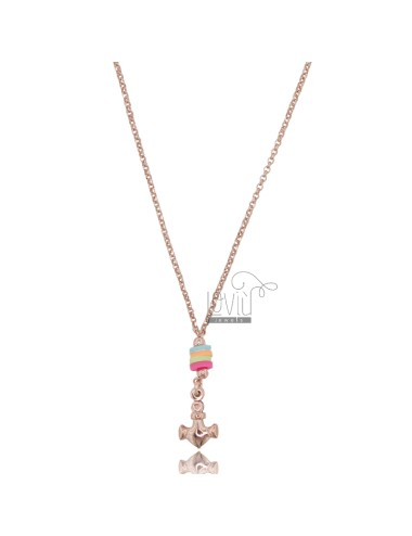 NECKLACE ROLO 'WITH STILL PENDANT AND SILICONE IN ROSE SILVER TIT 925 ‰ 42 CM