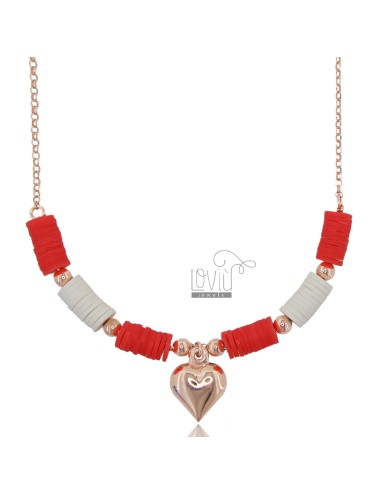 NECKLACE ROLO 'WITH PENDING HEART AND SILICONE IN ROSE SILVER TIT 925 ‰ 42 CM