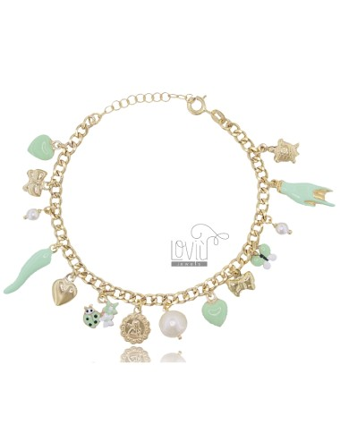 BRACELET WITH CHARMS AND CRYSTALS IN GOLDEN SILVER TIT 925 SM ENAMEL 18 CM