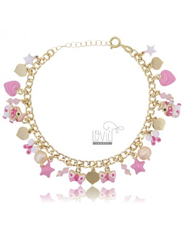 GROUMETTE BRACELET WITH HEARTS PENDING IN GOLDEN SILVER TIT 925 ‰ ENAMEL CM 18