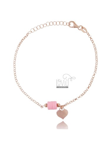 ROLO BRACELET WITH PENDING HEART AND SILICONE IN ROSE SILVER TIT 925 ‰ CM 18