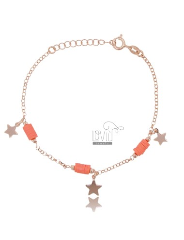 ROLO BRACELET 'WITH PENDING STARS AND SILICONE IN ROSE SILVER TIT 925 ‰ CM 18