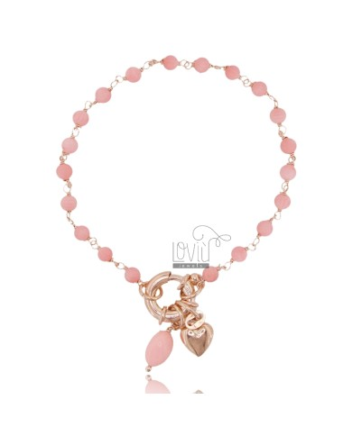 ROLO BRACELET 'WITH HEART PENDANT AND PINK CORAL PASTE IN ROSE SILVER TIT 925 ‰ CM 18