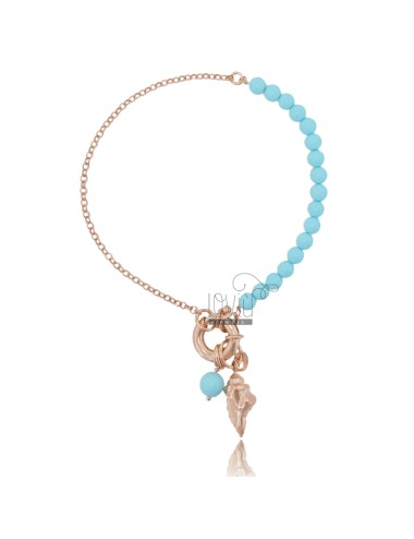 ROLO BRACELET WITH PENDANT SHELL AND TURQUOISE PASTE IN ROSE SILVER TIT 925 ‰ CM 18