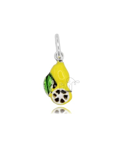LEMON PENDANT 20x10 MM IN SILVER CAST ENAMELED TIT 800 ‰