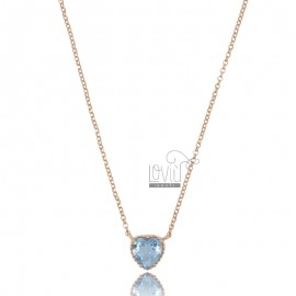 NECKLACE ROLO 'CM 42-44 WITH HEART 10 MM IN ROSE SILVER TIT 925 AND CELESTE ZIRCON
