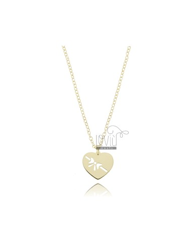 NECKLACE ROLO WITH HEART WITH GOLDEN SILVER PENDANT BOW TIT 925 ‰ CM 45