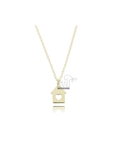 NECKLACE ROLO WITH HOUSE PENDANT IN GOLDEN SILVER TIT 925 ‰ CM 45