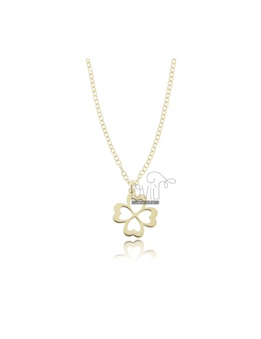 ROLO NECKLACE WITH FOUR-LEAF CLOVER IN SILVER GOLDEN TIT 925 ‰ CM 45