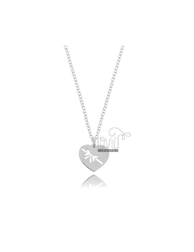 NECKLACE ROLO WITH HEART WITH PENDING SILVER RHODIUM TIT 925 ‰ CM 45